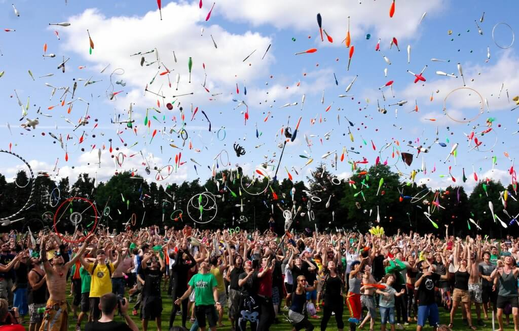 Celebration with confetti thrown in air by crowd