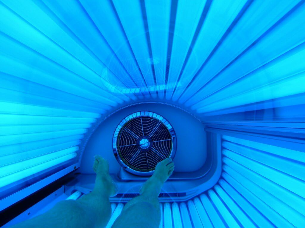 Tanning Bed with Blue Lights