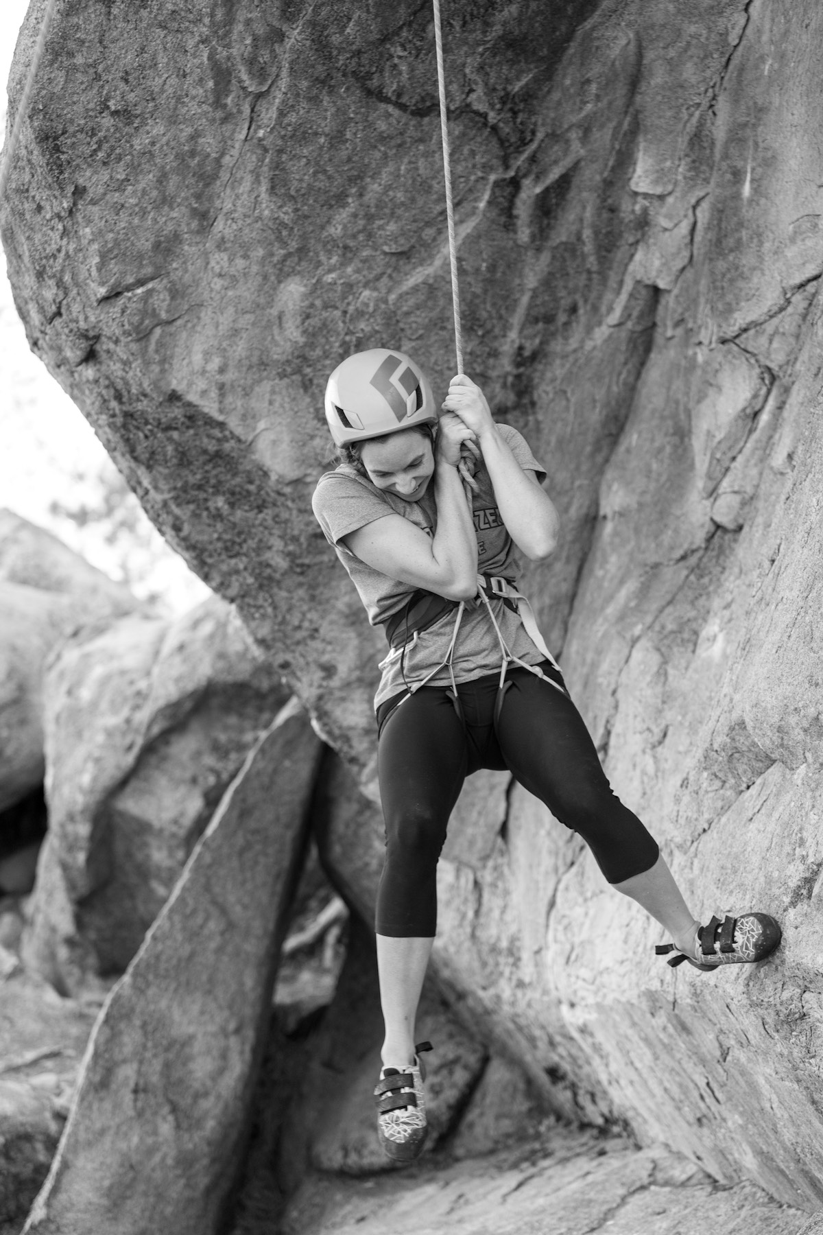 Rock Climbing Woman in Black and White